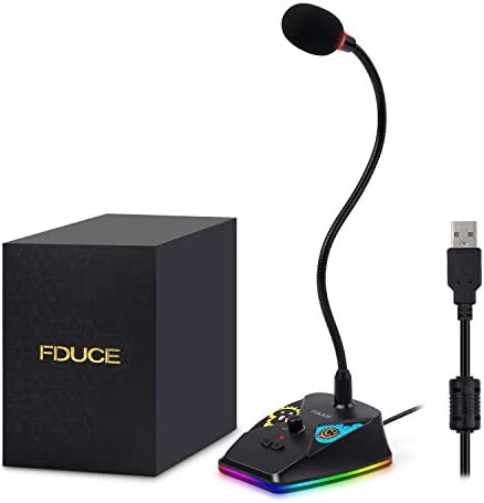 USB Computer Microphone, FDUCE PC Goose-Neck Mic Microphone for Computer with Mute Button and RGB Rainbow Light for Zoom, Skype, YouTube, Facebook, Recording, Meeting, Podcast and Games