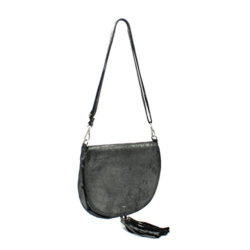 Brasilia demi pochette soirée de forme sac en lune Noir cuir glitter pochette cuir irisé rwqrfx