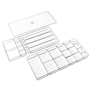 InterDesign Linus Fashion Jewelry Vanity and Drawer Organizer Tray for Rings, Earrings, Bracelets, Necklaces - 3 piece set, 37 compartments, Clear