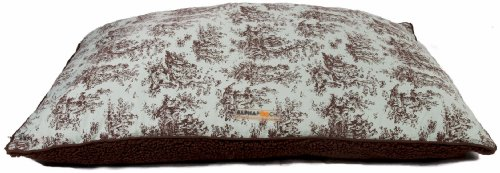 AlphaPooch Softie Rectangular Dog Bed, Celery Toile Fabric with Coco Fleece, Small