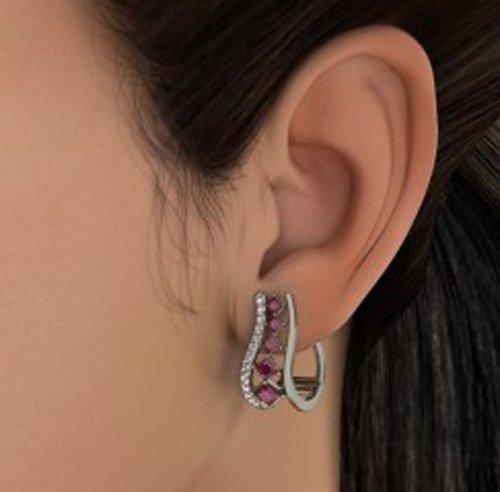18K Or Blanc 0,22CT TW Round-cut-diamond (IJ | SI) et rubis Boucles d'oreilles créoles