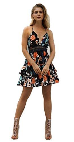 detrás Vestido playa sexy ANNA Profundo de Negro Impresión por en Casual V QUEEN Escotado mujeres las Cuello De Corto Floral Vestidos wFI8IHq
