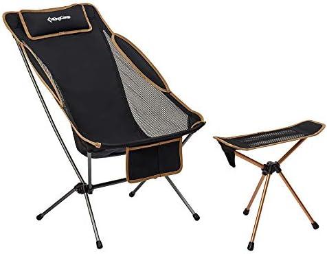 Kingcamp Portable Xl Camping Silla Con Respaldo Alto Respaldo Ajustable Asiento De Campamento Comodo Y Duradero Con Reposapies Juego De Taburetes Amazon Es Deportes Y Aire Libre