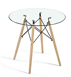 Dining Table Modern Round Glass Clear Ta...