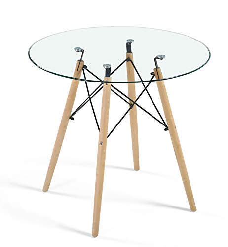 Dining Table Modern Round Glass Clear Table for Kitchen Dining Room Coffee Leisure Table with Wood Legs... (Tables Kitchen Round Glass For)