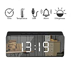 ArZen Led Digital Alarm Clock, USB Port and Battery Operated- Alarm Clocks Bedside- Temperature Display- Snooze and Large Display- Adjustable Brightness, Bedroom Mirror Travel Alarm, Simple Operation