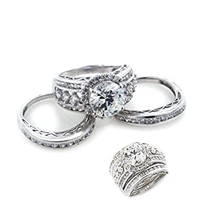 victoria wieck rhodium plated sterling silver absolute wedding ring or band 3 piece set size 5 - 3 Piece Wedding Ring Set