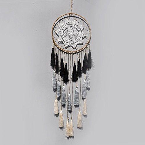 Churun Tassel Dreamcatcher Wall Hanging Ornament Handmade Dream Catcher 8inch (Grey Mix) -