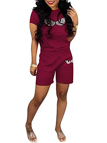 (Remelon Women Short Sleeve Sequin Eyes Patchwork T Shirt Top Bodycon Pockets Shorts Set 2 Piece Romper Outfits Tracksuits Wine XXL)
