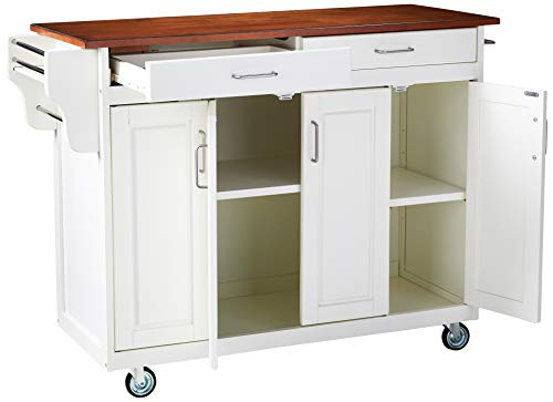 Home Styles Mobile Create-a-Cart White Finish Four Door Cabinet Kitchen Cart with Rich Oak Wood Top, Adjustable Shelving