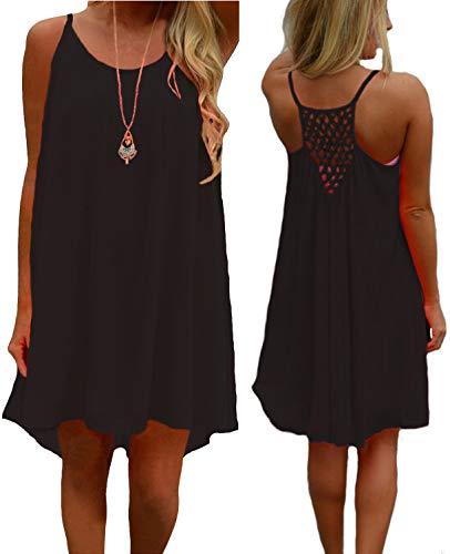 (iToolai Women's Summer Casual Sundress Chiffon Sleeveless Tank Beach Shift Dress (XS, Black))