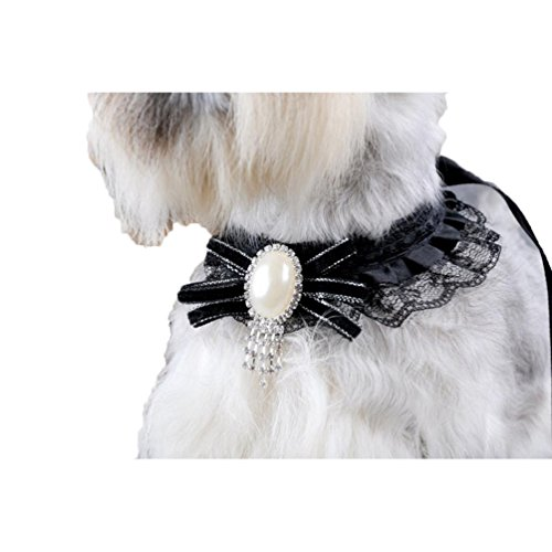 Price comparison product image Pet Collar, Haoricu Small Dog Puppy Doggy Lace Pearls Black Collars Necklace (B)