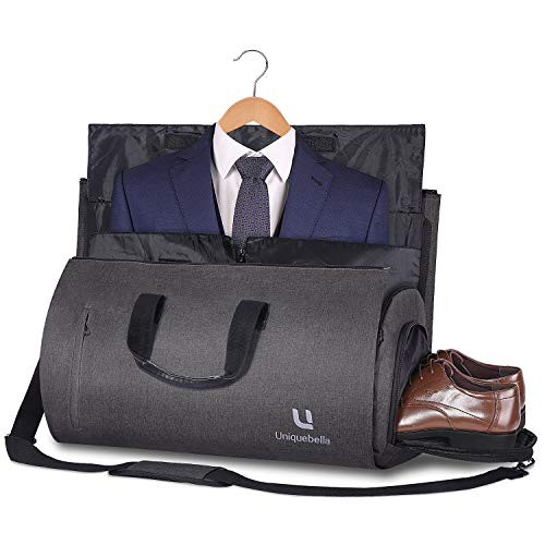 UNIQUEBELLA Carry-on Garment Bag Large Duffel Bag Suit Travel Bag Weekend Bag Flight Bag with Shoe Pouch for Men Women - Dark Grey
