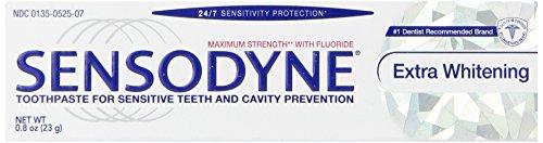 Sensodyne Extra Whitening Sensitivity Toothpaste for Sensitive Teeth Whitening, 0.8 Ounce (Travel Size)