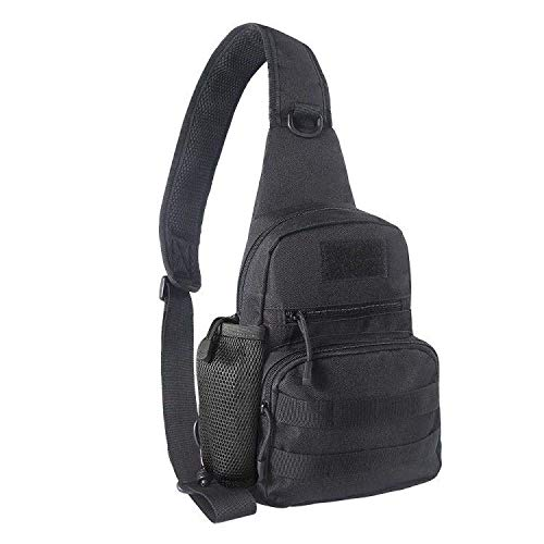 EDOBIL Tactical Bag, Messenger Bag Best Outdoor Sling Bag for Men and Women - Small One Military Bag for Trekking,Camping,Hiking,Cycling Rover Sling Daypack(Black 01)