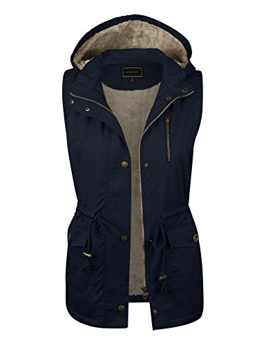 - makeitmint Women's Soft Faux Fur Lined Anorak Utility Hooded Jacket Vest [S-3XL] FBA-YJV0018-34NAVY-2XL