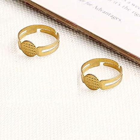 Lot de 10 8 LINSUNG Supports de bagues r/églables pour la cr/éation de bijoux fimo Tamis
