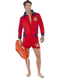 Men Fancy Dress Outfit Baywatch Lifeguard Beach Costume Red