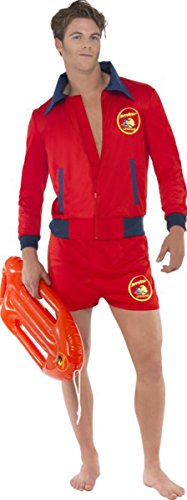 Men Fancy Dress Outfit Baywatch Lifeguard Beach Costume Red]()