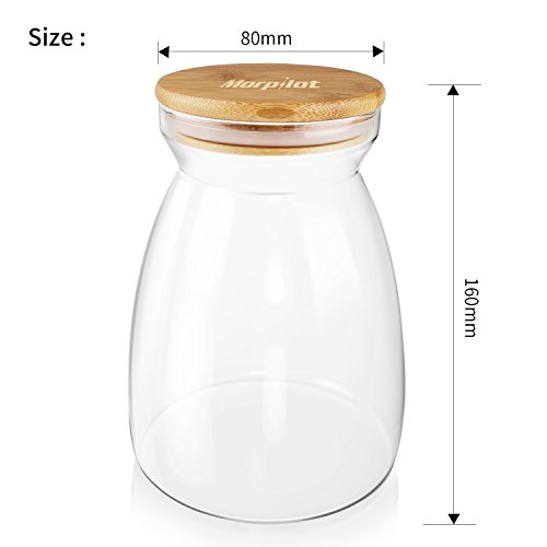 Morpilot Glass Storage Jars 1100ml for Tea Coffee Sugar Biscuit Storage,Clear Glass Food Storage Jar with Silicone Seal Ring Bamboo Lid by Morpilot (Image #2)