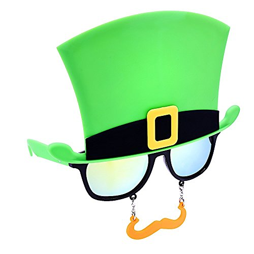 St. Patty's Day Green Top Hat and Orange Lens Instant Costume - Tank Shark Sunglasses