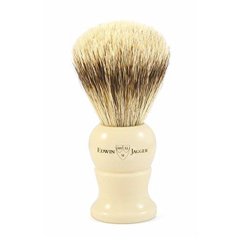 Edwin Jagger Super Badger Shaving Brush, Small, Imitation Ivory