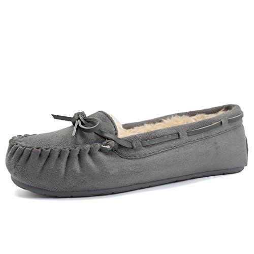 FANTURE Women's Slipper Micro Suede Faux Fur Lined Indoor & Outdoor Moccasins Slip On-U418WMT005-gray01-41
