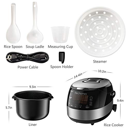 Elechomes LED Touch Control Rice Cooker, 16-in-1 Multi-function Cooker, 10-Cups Uncooked Warmer Cooker with Steam & Rinse Basket, CR502 by Elechomes (Image #7)