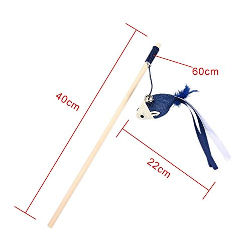 Cat Teaser Toy - 1 Pcs Pet Cat Natural Wooden Rod Tease Wand Toys Cats Interactive Exercise - Made Noise Clearance Magic Prime Treat Pink Seek Rabbit Dispenser Dollars Butterfly Leather J