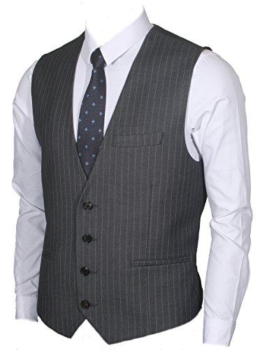 Ruth&Boaz Men's 3Pockets 4Button Business Suit Vest (M, Charcoal PIN Stripe)