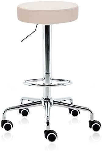 DR.LOMILOMI Hydraulic Rolling Swivel Tall Clinic Massage Bar Stool Chair 507 Vanilla