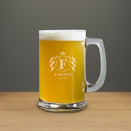 Personalized Etched Tavern Badge 15 oz Beer Mug, Customized Gift, Gift for Him, Gift for Brother
