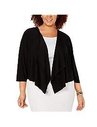 R&M Richards Woman Womens Plus Sheer Back Cropped Shrug Black 3X