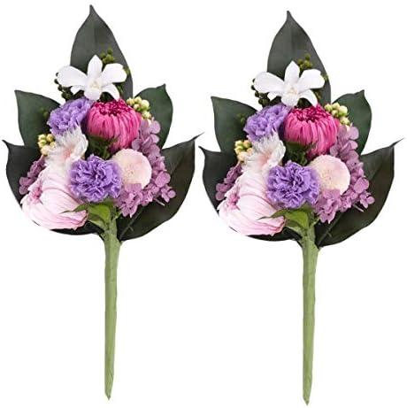 FUN fun (ファンファン) プリザーブドフラワー 仏花 仏華 仏壇用 花 お供え フラワー アレンジ 蓮華 花の高さ約16cm 2本