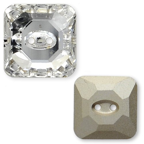 16mm Swarovski 3017 Square Button by 1 pc, Crystal (3017 Square Swarovski Buttons Crystal)