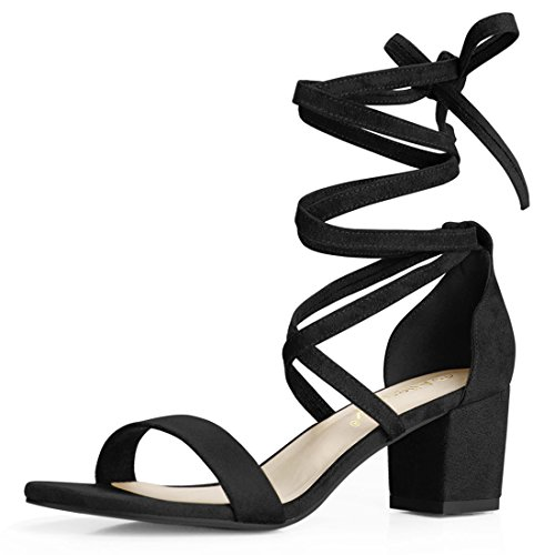 Allegra K Women's Open Toe Lace up Mid Chunky Heeled Sandals (Size US 10) Black-Faux Suede