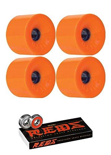 Thunder Juice - Oj Wheels 75mm Thunder Juice Longboard Skateboard Wheels with Bones Bearings - 8mm Bones REDS Precision Skate Rated Skateboard Bearings - Bundle of 2 items