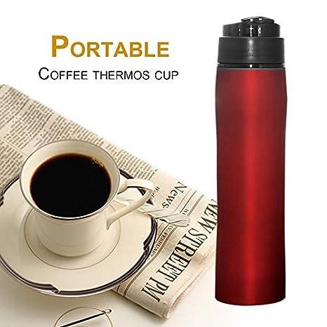 ShenyKase Francés Presionado Botella de café Calor Preservación en frío Café Máquina de té Botella de Filtro de café Presión Manual Máquina de café: ...