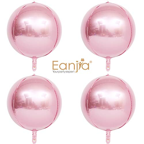 Eanjia Hangable 4 Count 16 Blue 4D Large Round Sphere Aluminum Foil Balloon Mirror Metallic Silver Balloon Birthday Party Wedding Baby Shower Marriage Decor Supplies (Pink, 16)