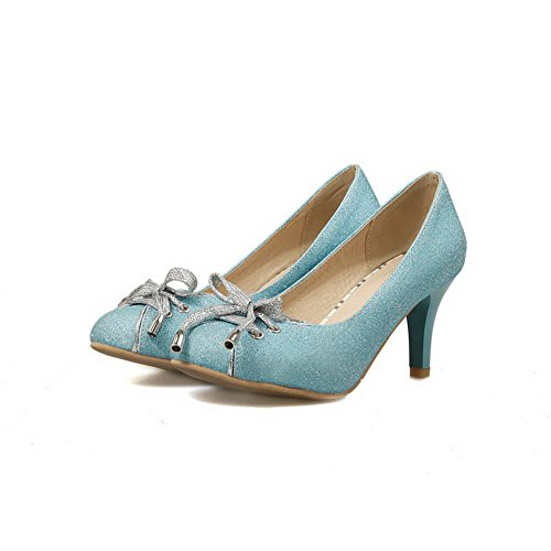 BalaMasa Ladies Spikes Stilettos Bows Low-Cut Uppers Urethane Pumps-Shoes Blue GIL6DY