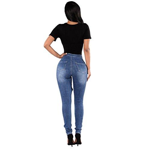 9 Vintage Jeans Donna Ginocchio Stile Scarni Skinny Sentao Pantaloni Leggings Strappati qZvCC