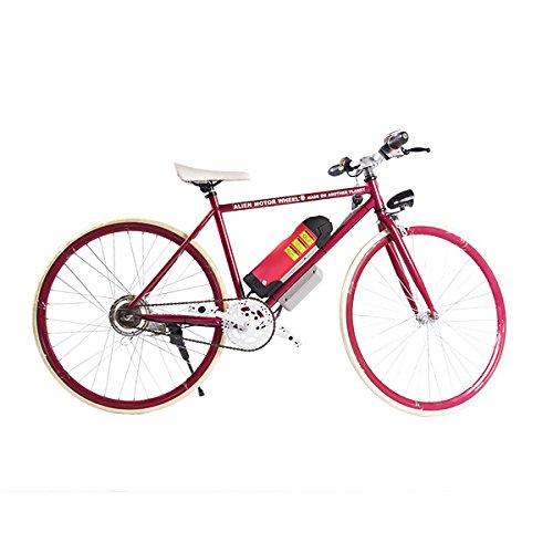 ELECTRIC Fixie Bike 350W 33MPH Alien Motor Wheels TM. (CHERRY/WHITE/CHERRY/HOT PINK)