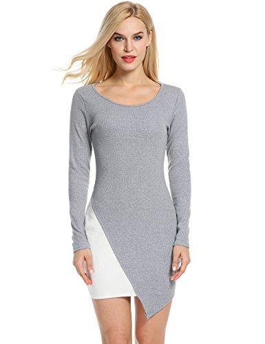 ANGVNS Women Casual O-Neck Long Sleeve Slim Pencil Dress