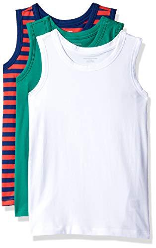 - Amazon Essentials Big Boys' 3-Pack Tank, Bosphorous/Blue Depths/Tomato Even Stripe/Bright White, XX-Large
