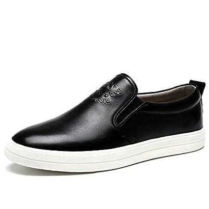 Zapatos de cuero invierno otoño moda tendencia mocasines cuero casual personalidad de los hombres , black