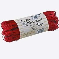 Folia 9020cinta de rafia natural, 50g, Rojo vivo