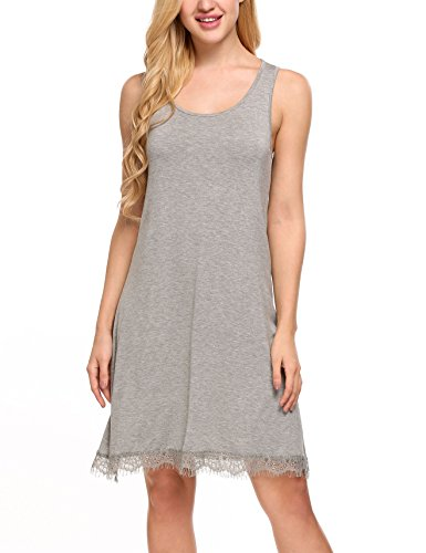 Hotouch Women's Solid Print Full-Length Chemise Heather Gray L