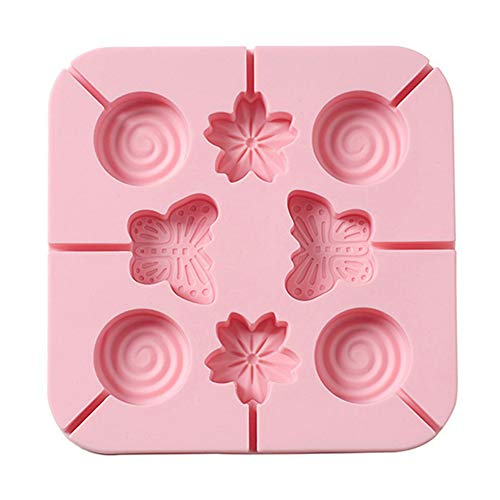 Tenrry 4Pcs/Set Silicone Candy Molds 8-Cavities Lollipop Chocolate Flower Animal Mould