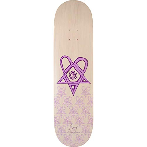 Element Skateboards Bam Heartagram Skateboard Deck - 8.5 Tyson White/Pur Deck ONLY - (Bundled with Free 1