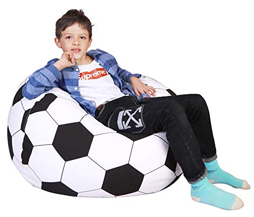 - Lukeight Stuffed Animal Storage Bean Bag Chair, Bean Bag Cover for Organizing Kid's Room - Fits a Lot of Stuffed Animals, X-Large/Football Pattern